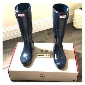 Hunters original tour packable gloss rain boots